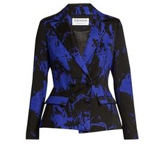 Osman Mona double-breasted wool-blend jacket ($1,305) ❤ liked on Polyvore featuring outerwear, jackets, blue multi, wool-blend jacket, osman, double breasted jacket, blue jackets and blue double breasted jacket