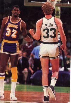 Magic Johnson #32 Los Angeles Lakers & Larry Bird #33 Boston Celtics