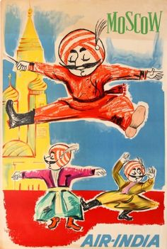 Air India Moscow Russia 1950s - original vintage travel advertising poster listed on AntikBar.co.uk