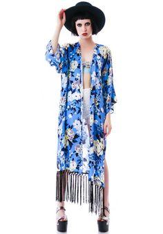 Nameless Beauty Rose No Pain Fringe Kimono