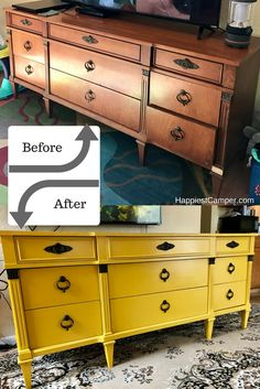 Dresser Makeover Mustard Yellow - This dresser makeover is so bright and happy. A furniture DIY that makes me happy!