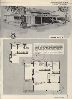 Vintage House Plans, Modern House Plans, Vintage Homes, One Floor House Plans, Floor Plans, American Home Design, Usonian House, Home Planner, Architectural Prints