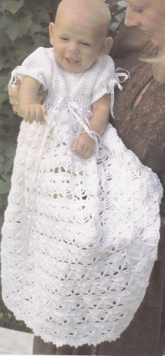 Vintage Crochet Pattern Baby Christening Gown by LittleGalsStudio, $2.60