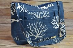 maddie  - camera bag or purse Navy ocean coral print