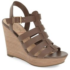 Sole Society 'Lennox' Wedge Sandal (Women) ($30) ❤ liked on Polyvore featuring shoes, sandals, mushroom taupe, strappy platform sandals, strap sandals, ankle strap sandals, high heel wedge sandals and high heel platform sandals