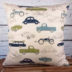 Vintage Rides/cars/trucks/motorcycle Pillow Cover - Three Color Combinations To…