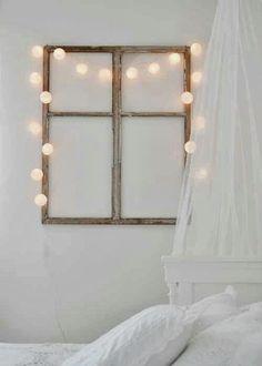 Window frame + Fairy lights headboard/ above bed