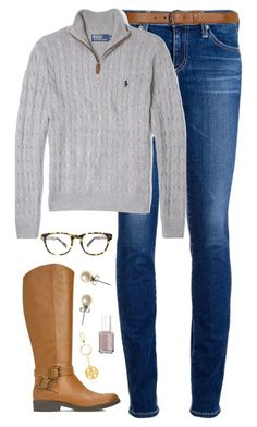 """""""RL cable-knit"""" by classically-preppy ❤ liked on Polyvore featuring AG Adriano Goldschmied, Dorothy Perkins, Polo Ralph Lauren, Tory Burch, Essie, J.Crew and Warby Parker"""