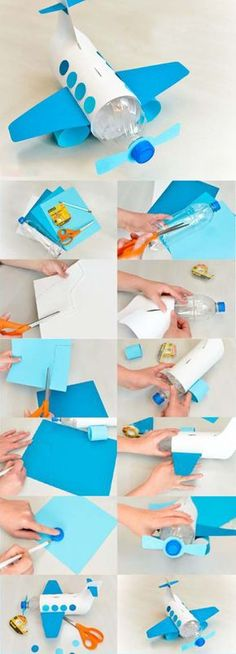 Aircraft Construction from Pet Bottle - Basteln - Diy Crafts For Kids, Projects For Kids, Easy Crafts, Arts And Crafts, Recycled Toys, Plastic Bottle Crafts, Pet Bottle, Activities For Kids, Airplane Activities