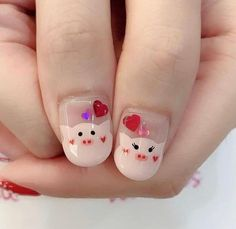 63 latest nail art pictures, 2019 most popular fashion nails, everyone likes it, let's take a look! - Page 51 of 63 - zzzzllee Pig Nail Art, Pig Nails, Animal Nail Art, New Year's Nails, New Years Nail Designs, New Years Nail Art, Diy Nail Designs, Nail Art Pictures, Kawaii Nails