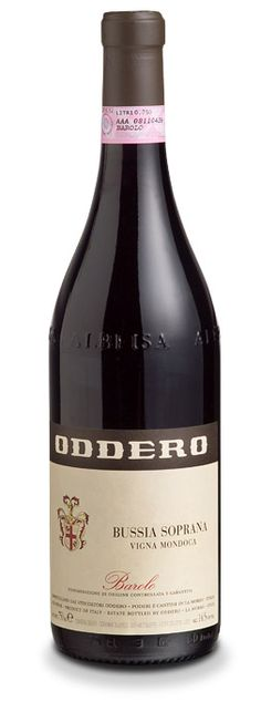 Oddero Barolo Bussia Soprana  Vigna Mondoca    Variety 100% Nebbiolo  A wine with an elegant and appealing bouquet, recalling small fruits, and with balsamic Mediterranean notes which, with ageing, contain hints of tar. Great balance on the palate, with an elegant and potent tannic texture, and a long and complex finish.