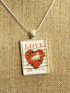 USA Love Heart Stamp Pendant Necklace by joytoyou41 on Etsy, $25.00