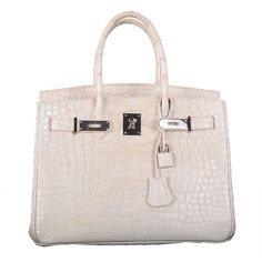 2f25b5f76810 Only On JF Hermes Birkin Bag 30cm Blanc Casse White Croc Porosus