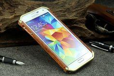 R-Just Slim Waist Aluminum Metal Frame Wood Bumper for Samsung Galaxy S5 G900
