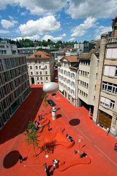 City Lounge (Sankt Gallen, Switzerland) by architect Carlos Martines in collaboration with artist Pipilotti Rist Landscape Architecture, Landscape Design, Architecture Design, Architecture Diagrams, Architecture Portfolio, Urban Landscape, Pipilotti Rist, Copenhagen Design, Switzerland Cities