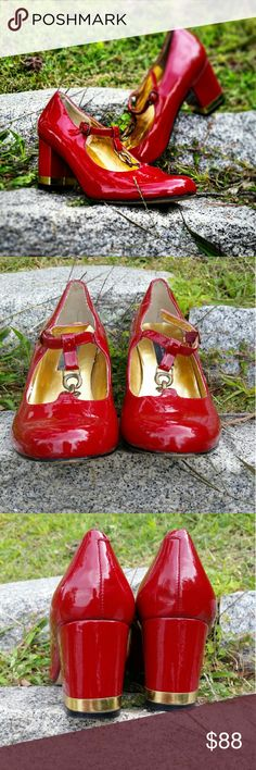 """""""Director"""" by STEVEN These ruby red Mary Janes are a stunning statement shoe. Gold accent,  brass chain. 3"""" chunky heel. Some wear visible on the inside sole,  but the shoes are impeccable to the eye. Steven by Steve Madden Shoes Heels"""