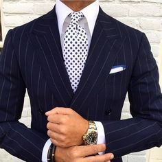 Suits: Office to Evening, Men's navy pin stripe suit, print tie