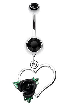 Heart Rose Belly Button Ring - 14 GA (1.6mm) - Black - Sold Individually More