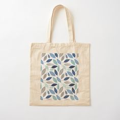 Printed Tote Bags, Cotton Tote Bags, Reusable Tote Bags, Leaf Prints, Art Prints, Blue Leaves, Custom Bags, Floral Design, Cotton Fabric