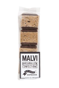 An intense coffee extraction whips into a boldly flavored marshmallow with a kiss of coffee liqueur. The lightly boozy bite is held between intensely dark chocolate cookies for a deep, dark buzz.