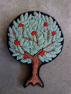Hand Embroidered Apple Tree Brooch