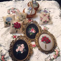 Delivered to dear friend🌹💕 In addition to experience and memory, nothing belongs to me😮😮😮 Hand Embroidery Stitches, Flower Embroidery, Diy Ribbon, Fabric Art, Pin Cushions, Needlework, Artsy, Photo And Video, Instagram Posts