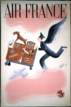 vintage 'air france' poster / hervé baille (paris)