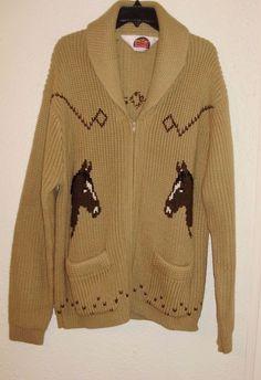 Miller Outerwear Women's Zip Cardigan Sweater Tan Brown Horse Head Equestrian XL #MillerOuterwear #Cardigan #Casual