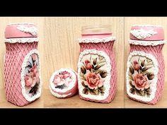 DIY/Decor recycled coffee jar /Decoupage on glass /Paper art - YouTube Decoupage Jars, Decoupage Ideas, Shabby Chic Paper, Coffee Jars, Jar Crafts, Hobbies And Crafts, Decoration, Glass Bottles, Paper Art