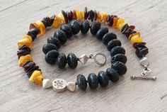 Black Lava Stone and Baltic Amber Necklace Chunky by SunSanJewelry