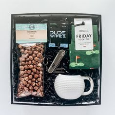 SOLD OUT // Fore! Dad Gift Box Includes: Golf Ball Mug, Golf Tool, Dude Wipes (2), Beer Nuts from Going Nuts, Golf Perfectly Mis-Matched Socks from Friday Sock Co. ~ father's day gift // dad's day gift // for dad // thank you dad // gift ideas for dad // predesigned father's day gift box ~ #fathersdaygift #giftfordad #moderngifting #foretheloveofgolf Fathers Day Gifts, Gifts For Dad, Father's Day Breakfast, Thank You Dad, Curated Gift Boxes, Coffee Cookies, Dad Day, Golf Ball, Friday