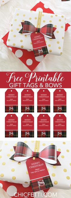 Free Printable Christmas Gift Tags and Paper Bows in a tartan pattern from @chicfetti
