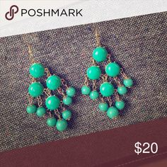 """🌟Turquoise & Gold Statement Earrings🌟 These are beautiful statement earrings, with turquoise beads and gold tone accents. These have fish hooks. 3.5"""" long. Jewelry Earrings"""