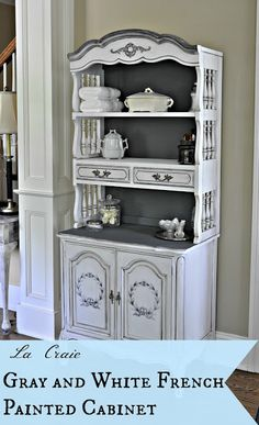 DIY Shabby Chic Decor Ideas - Gray And White French Painted Cabinet - French Farmhouse and Vintage White Linens - Bedroom, Living Room, Bathroom Ideas, Distressed Furniture and Boho Crafts - Cheap Dollar Store Projects and Upcycle Repurposed Home Decor Refurbished Furniture, French Furniture, Paint Furniture, Repurposed Furniture, Shabby Chic Furniture, Furniture Projects, Shabby Chic Decor, Furniture Making, Furniture Makeover