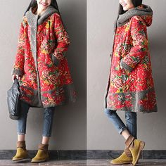 National wind peony hooded cotton coat female Big yards by pppyesr