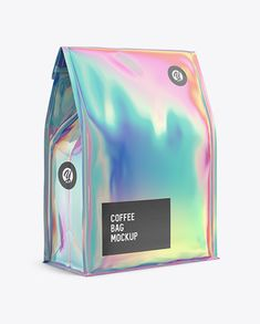 Holographic Foil Coffee Bag w/ a Tin-Tie Mockup - Halfside View in Pouch Mockups on Yellow Images Object Mockups