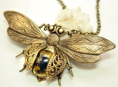 Steampunk Necklace Eye Bee lieve In You Large Bee by DesignsBloom, $39.99
