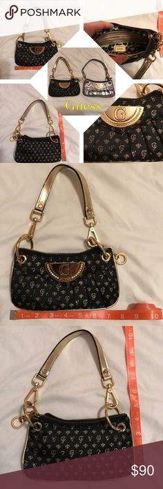NWOT guess black & gold bag Cute perfect tiny bag for the essentials. Great for any casual or formal event. Adorned with clear stones on a gold/silver tone plate marked by guess. Smoke feee n damage free. Open to reasonable offers. Guess Bags Shoulder Bags