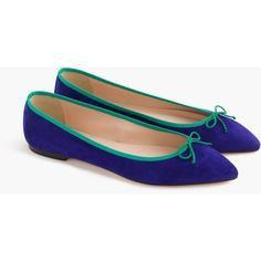 J.Crew Gemma Suede Flats With Contrast Trim ($115) ❤ liked on Polyvore featuring shoes, flats, j crew shoes, flat shoes, suede ballet flats, j crew flats and flat pointed-toe shoes