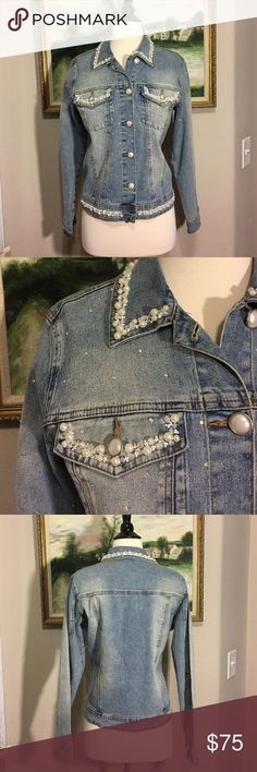 """DG2 by Diane Gilman Embellished Denim Jacket Where do I start?! This gorgeous, denim jacket is covered in rhinestones and pearls and sequins!! The detail on it is just amazing!! In perfect used condition, like it's never been worn. Length of jacket laying flat is 22"""". This is a size small but could easily fit a large medium! DG2 by Diane Gilman Jackets & Coats Jean Jackets"""