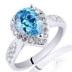 HYS Sterling Silver Rhodium Plated Pear Shape Simulated Blue Topaz Ring Size 6 7 8 9 - http://www.loveuniquerings.com/pear-shaped-engagement-rings/hys-sterling-silver-rhodium-plated-pear-shape-simulated-blue-topaz-ring-size-6-7-8-9/