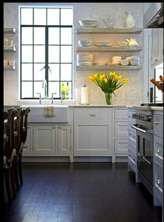 kitchen, windows and open shelves