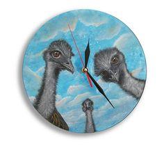 Hand Painted Wall Clock, Wooden Wall  Clock Ostrich Camel bird Wall Art Sky Home Decor Design Painting Nature Gift Kid Boy Girl JaN:)Art