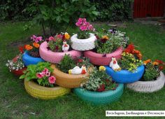 Grow flowers, herbs, veg, potatoes, or even peas on bamboo sticks. Fill the base tyres with earth before stacking