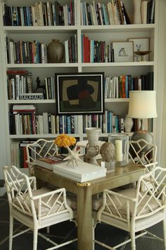 Chinese Chippendale chairs with neutral cushions