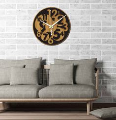 Antique Wall Clocks, Wood Clocks, Large Wooden Clock, Wall Clock Numbers, Kitchen Wall Clocks, How To Make Wall Clock, Clock Decor, Black Kitchens, How To Antique Wood