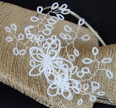 Delicate, vintage style worn to the side. Extending out quite a distance from the silver coloured tiara band is this gorgeous headband. Beaded Bouquet, Opening An Etsy Shop, Alondra, Beaded Cuff Bracelet, Bracelet Tutorial, Organza Bags, Bridal Headpieces, Beading Patterns, Bridal Jewelry