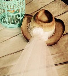 Bridal hat weddings bachelorette veil cowgirl by InspiredtoImagine