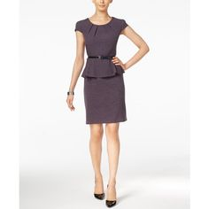 Connected Belted Peplum Sheath Dress ($69) ❤ liked on Polyvore featuring dresses, purple, white day dress, wetlook dress, wet look dress, belted dress and sheath dress