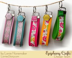 Wristlets made with the #epiphanycrafts Shape Studio Tools Square and Hexagon and coordinating charms. www.epiphanycrafts.com #scrapbook